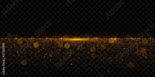 Fotografie, Obraz Sparkling golden glitter dust, sparkling particles isolated on dark transparent