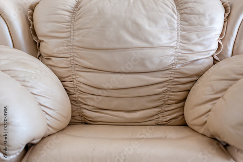 Fototapeta Texture of luxury leather grey armchair upholstery.