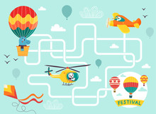 Help The Hot Air Balloon Find The Right Way To The Festival. Color Maze Or Labyrinth Game For Preschool Children. Puzzle. Tangled Road. Transport For Kids