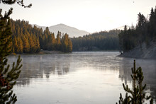 Calm Yellowstone River In The Morning