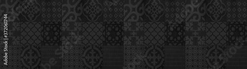 Black anthracite gray grey vintage retro geometric square mosaic motif cement ti Fotobehang