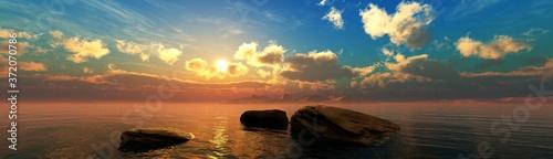 Obraz Stones in the water at sunset, sunset seascape, ocean sunrise over stones, 3D rendering - fototapety do salonu