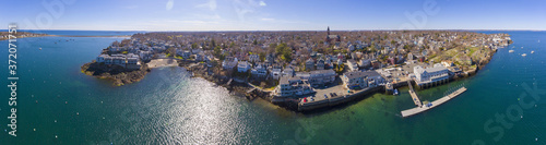 Photo Crocker Park at Marblehead harbor and town center aerial view panorama, Marblehead, Massachusetts MA, USA