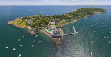 Aerial View Panorama Of Marblehead Lighthouse, Built In 1835, On Marblehead Neck And Marblehead Harbor In Town Of Marblehead, Massachusetts MA, USA.