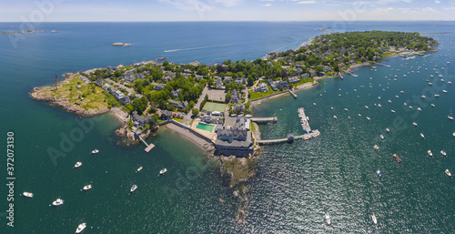 Canvas Print Aerial view panorama of Marblehead Lighthouse, built in 1835, on Marblehead Neck and Marblehead Harbor in town of Marblehead, Massachusetts MA, USA