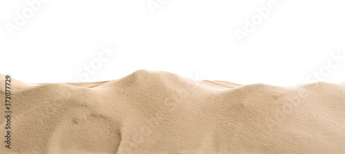 Fototapeta Heap of dry beach sand on white background