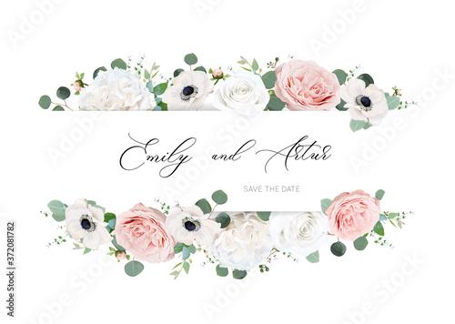 Fotografía Stylish ivory white & blush peach wedding invite, invitation, save the date card design