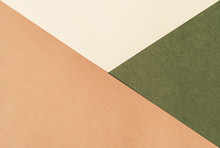 Paper For Pastel Overlap In Beige, Green And Terracotta Colors For Background, Banner, Presentation Template. Creative Modern Trendy Background Design In Natural Colors. Trendy Paper For Pastel