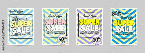 Fototapeta Set Super Sale posters design template, special offers, discount banners, vector illustration obraz