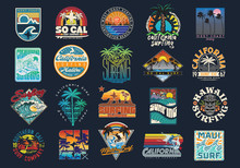 Surf Vector Patch Emblem Set. ...