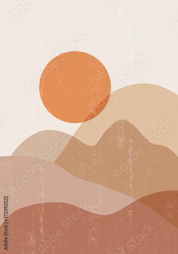 Plakat w ramce 40x30 cm Mid century sunset print boho minimalist printable wall art