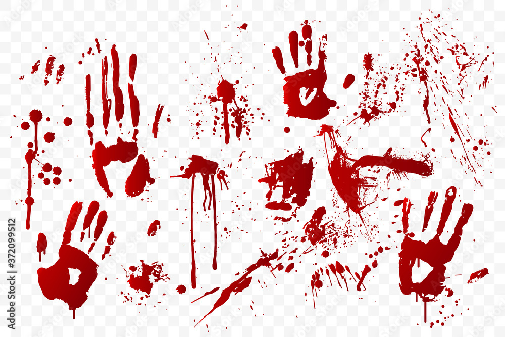 Fototapeta Vector blood stain and bloody handprints isolated on transparent background. Red paint splashes. Crime scene. Vampire bite. Halloween decoration element. Horror backdrop. Vector illustration.