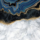 abstract background, blue agate with golden veins, white and black marble, fake painted artificial stone texture, marbled surface, digital marbling illustration - 372100733