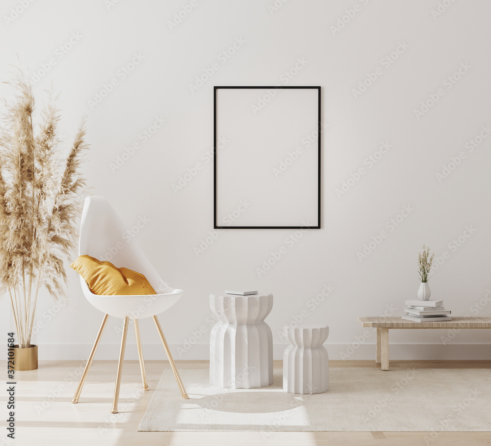 Fototapeta blank vertical picture frame mockup in modern interior background with empty white wall, chair and pampas grass, luxury living room interior background, scandinavian style, 3d rendering