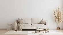 Scandinavian Style Living Room Interior Mock Up, Modern Living Room Interior Background, Beige Sofa And Pampas Grass, 3d Rendering