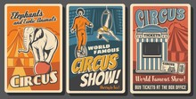 Circus Performers Retro Vector...