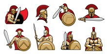 Spartan Warriors, Knights With Helmet And Shield, Medieval Gladiator In Armor With Sword, Vector Heraldic Icons. Spartan Knight Or Gladiator And Royal Warrior In Paladin And Red Plume Helmet