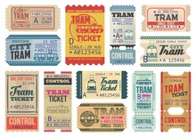 Vintage Tram Tickets Isolated ...