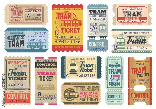 Fotografiet Vintage tram tickets isolated vector templates, transportation retro pass cards, trip paper coupons with perforated cut lines