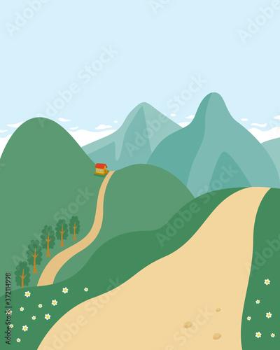 登山のハイキングコースのある風景のイラスト。 Canvas Print