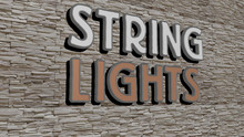 STRING LIGHTS Text On Textured...