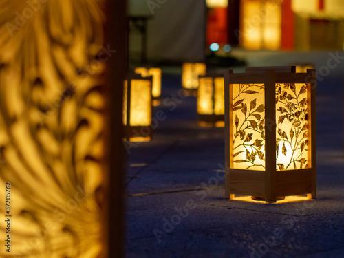 Obraz na plátně ランプ 夜 明かり 灯籠