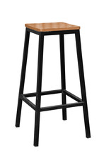 Wooden Steel Legs Simplistic Bar Chair Isolated On White Backgrounds