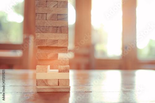 Obraz na plátně building wood blocks, plan and strategy