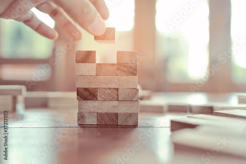 Fotografie, Obraz building wood blocks, plan and strategy