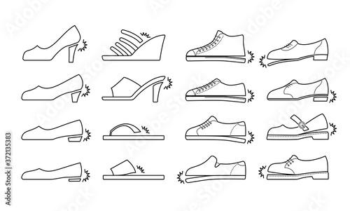 Obraz na plátně 壊れた様々な靴のラインアイコンセット