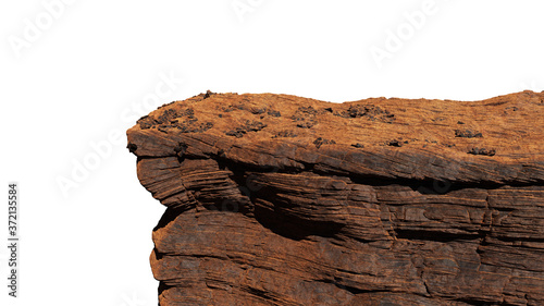 rocky cliff isolated on white background, view from mountain Fototapet