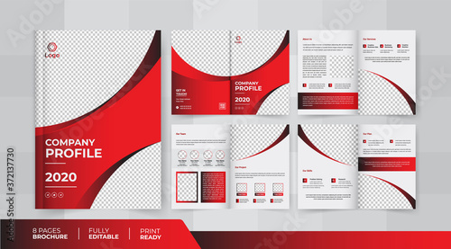 Obraz na plátně 8 Pages corporate business brochure with the use of its business presentations a