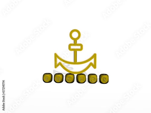Canvas Print ANCHOR cubic letters with 3D icon on the top, 3D illustration for background and