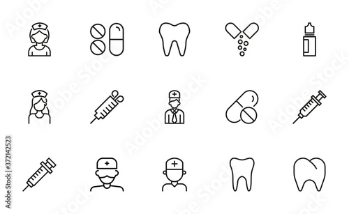 Modern thin line icons set of dentistry. Fototapeta