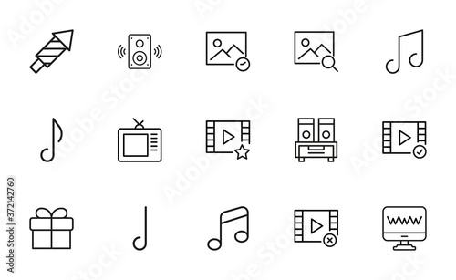 Fotografiet Simple collection of entertainment related line icons.