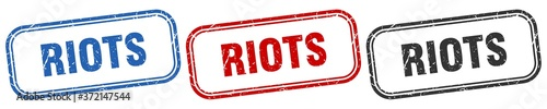 Fotografiet riots square isolated sign set. riots stamp