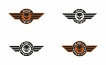 Set Of Color Illustrations Of Skull, Wings And Text On A White Background. Vector Illustration Advertises American Motorcycles. Biker Club Emblem. Illustration For Sticker.