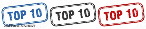 Foto top 10 square isolated sign set. top 10 stamp