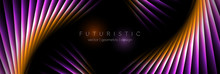 Orange And Violet Laser Lines Abstract Hi-tech Banner Design. Vector Neon Background