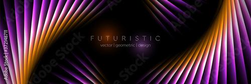 Orange and violet laser lines abstract hi-tech banner design Billede på lærred