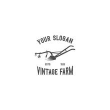 Old Plough Emblem Silhouette Logo Vector