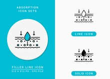 Absorption Icons Set Vector Illustration With Solid Icon Line Style. Drop Water Emulsion Concept. Editable Stroke Icon On Isolated Background For Web Design, Infographic And UI Mobile App.