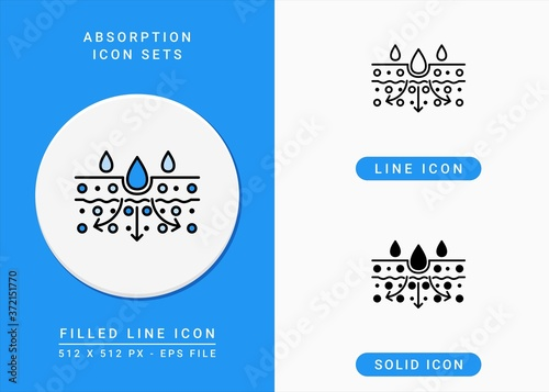 Absorption icons set vector illustration with solid icon line style Canvas Print