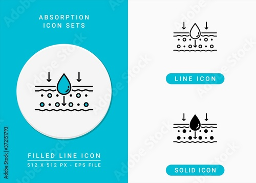 Absorption icons set vector illustration with solid icon line style Wallpaper Mural