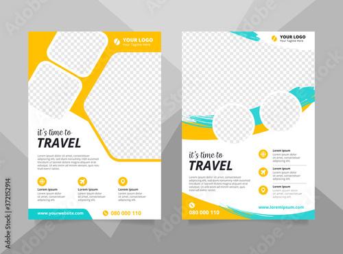Fototapeta Vacation travel brochure flyer design template. Summer brochure template obraz