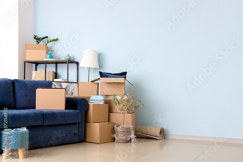 Fototapeta Cardboard boxes with belongings and sofa in new flat on moving day obraz