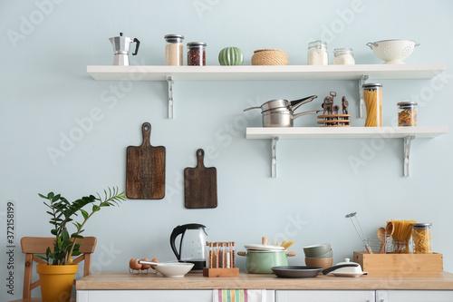 Fototapeta Set of utensils and products in kitchen obraz