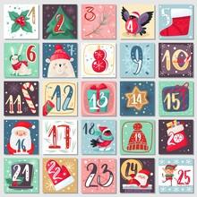 Christmas Advent Calendar. Winter Festive Poster With Rabbit, Bear And Santa, Xmas Decoration And Numbers, December Calendar Vector Template