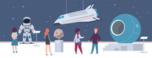 Space Exhibition In Museum Or Art Gallery. Visitors Men And Women Looking Spacecraft And Rocket Sculpture, Excursion About Galaxy And Solar System, Flat Cartoon Vector Illustration