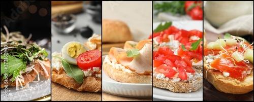 Collage of different tasty bruschettas. Banner design Billede på lærred
